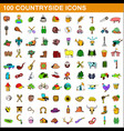 100 countryside icons set cartoon style vector image vector image