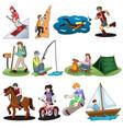 active people doing outdoor activities vector image vector image