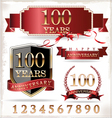 Anniversary red and gold labels vector image