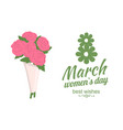 best wishes womens day bouquet of roses vector image vector image