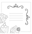 black and white greeting card cupcakes vector image vector image