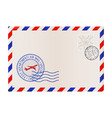 blank envelope with stamp and air mail postmark vector image vector image