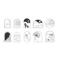 bohemian linear logos icons and symbols vector image