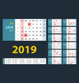calendar 2019 blue set week starts on sunday vector image vector image