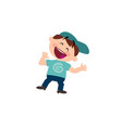 character of a cheerful white boy with blue cap vector image vector image