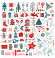 christmas big set festive elements snowman vector image