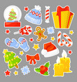 christmas icon set collection cartoon stickers vector image vector image