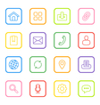 colorful line web icon set rounded rectangle vector image vector image