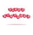 congratulations happy birthday hearts balls vector image