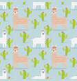 Cute alpaca and cactus seamless pattern