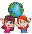 cute kids couple cartoon vector image vector image