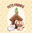 cute pets friends vector image