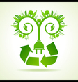 eco cityscape with leaves and electric plug vector image vector image