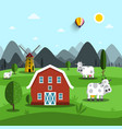 Farm cartoon landscape with cows and house