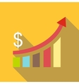Financial analysis chart icon flat style vector image