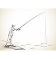 fishing man vector image vector image