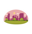 flat cartoon green city concept isolated vector image