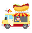 flat design of fast food car shop truck icon with vector image vector image
