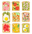 flat set of sandwiches with different vector image