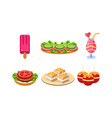 flat set of traditional french snacks and vector image