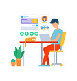 freelancer working in office coder with laptop vector image vector image