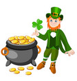 happy saint patrick s day character with green vector image vector image