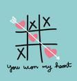 heart xo tic-tac-toe game vector image vector image
