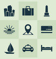 journey icons set with sunset bed suitcase and vector image vector image