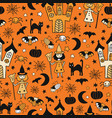 kids halloween background seamless pattern vector image vector image