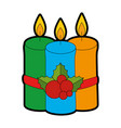 merry christmas candles with leafs vector image