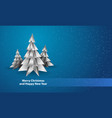 polygonal white spruce on blue snowy background vector image