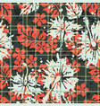 scottish tartan hibiscus and leaves background vector image vector image