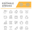 set editable stroke line icons coffee vector image vector image