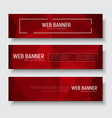 set of horizontal web banners with abstract red vector image vector image