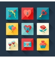 Set of Valentines and Wedding icons in flat design vector image
