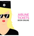 stewardess blonde in black uniforms with booking vector image vector image