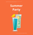 summer party poster with mojito and mint cocktail vector image vector image