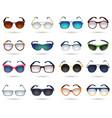 Sunglasses fashion reflection mirror icons set vector image vector image