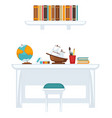 table with equipment for education vector image vector image