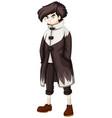 teenage boy in black overcoat vector image