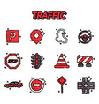 traffic flat icons set vector image vector image