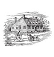 washingtons house in fredericksburg vintage vector image vector image