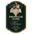 wine label with hand-drawn bunch grapes vector image