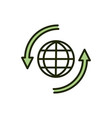 world recycle environment ecology line and fill vector image vector image