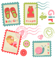 Baby girl stamps vector image
