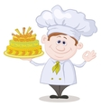 Cook with holiday cake vector image