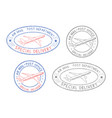 air mail postmarks colored set with plane symbol vector image vector image