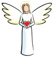angel holding heart vector image
