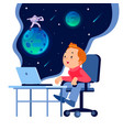 back to school funny little boy with a laptop a vector image vector image