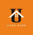 black white orange u letter with house sign vector image vector image
